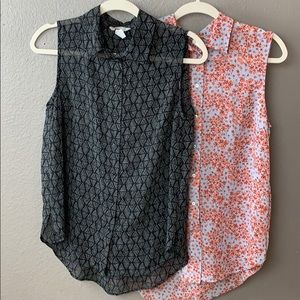 Two H&M Button-up tank printed blouses